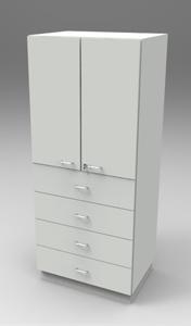 Шкаф лабораторный материальный 800, две двери + четыре ящика. Серия NordStyle.